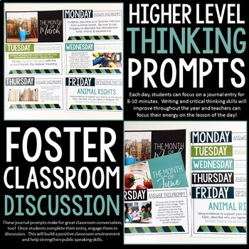 Bell Ringer Prompts for the Entire School Year: 275 Journal Prompts PRESENTATION