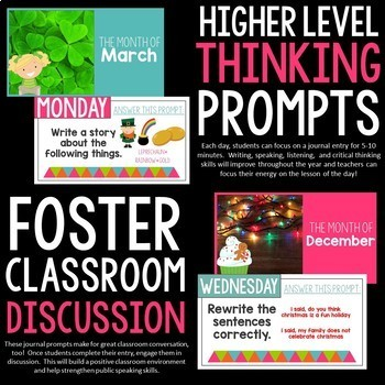 Bell Ringer Prompts for the School Year: 275 Journal Prompts PRESENTATION