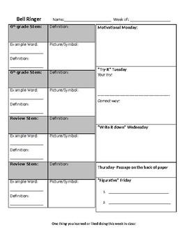 Bell Ringer Sheet for ELA