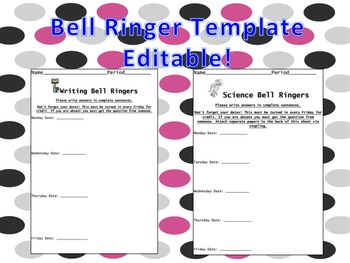 Bell Ringer Sheets for student work
