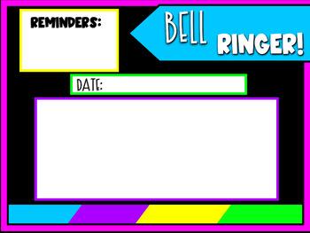 Bell Ringer Timers Slide Brights Themed Editable Milestone Freebie! Please Read!