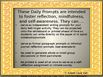 English Bell Ringers | Journal Prompts | Middle & High School ELA | Mindfulness