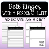 Bell Ringer Weekly Response Page Template  - Can be used with ANY subject!