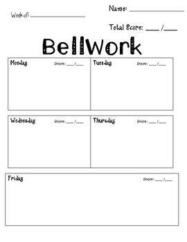Bell Ringer Weekly Worksheet