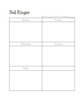 Bell Ringer Weekly Worksheet