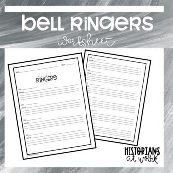 Bell Ringer Worksheet for Any Subject