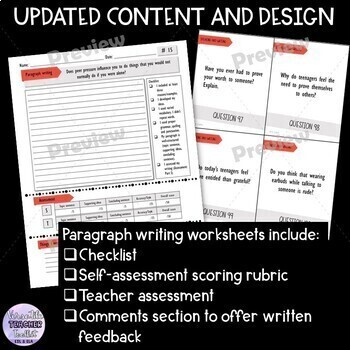 Bell Ringer Journals with Task Cards (middle school/high school) UPDATED