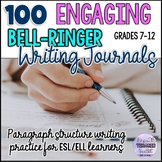 100 Bell-Ringer Paragraph Writing Journals with Task Cards