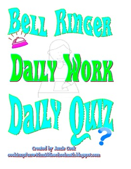 Bell Ringer and Daily Quiz Student log sheets