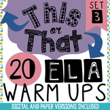 Bell Ringers - Daily Warm-Ups for ELA  (set 3) - Digital V