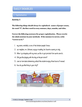 Middle School ELA Bell Ringers - Capitalization
