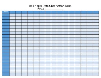 Bell Ringers Data Observation Form