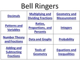 Bell Ringers Decimals Fractions Graphs Geometry Integers Equations Inequalities