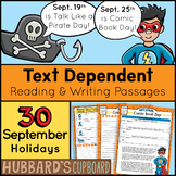 30 Reading Passages & Writing Prompts For September-Text Evidence - Morning Work