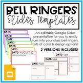 Bell Ringers Template   Class Starter   Google Slides