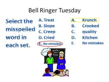 Bell Ringers Topic: Grammar, Spelling, Writing