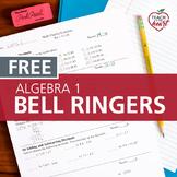 Bell Ringers for Algebra 1 Single Set (Review Practice)