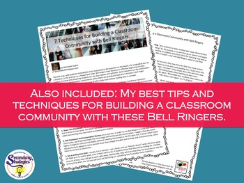 Bell Ringers Writing Prompts For Any Middle or High School Classroom - Set 2