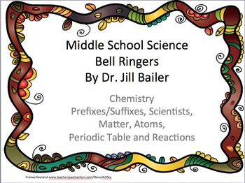 Bell Ringers for Middle School Chemistry