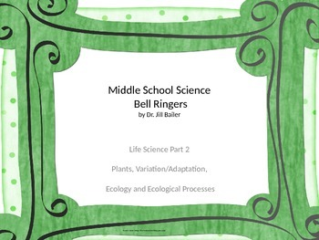 Bell Ringers for Middle School Life Science Part 2