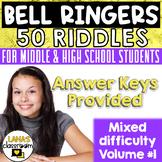 ELA Bell Ringers Riddles Brain Teasers | For Teens | Vol. #1 | EDITABLE