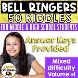 ELA Bell Ringers Riddles Brain Teasers | For Teens | Vol.