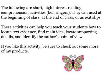 Bell Ringers/High Interest Reading Comprehension Activities