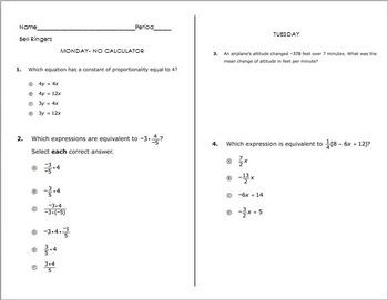 Bell Work- 7th Grade Math PARCC Sample Item Test Prep