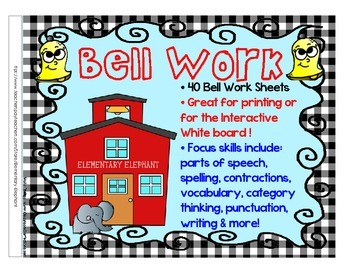 Bell Work BUNDLE for grades 3-4-5 Language Arts by Elementary Elephant