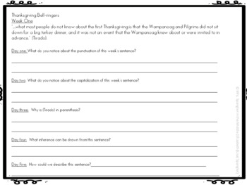 Bell Work / Bell Ringers:  Text-based Thanksgiving Mentor Sentences