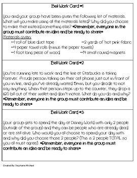 Bell Work Cooperative Task Cards