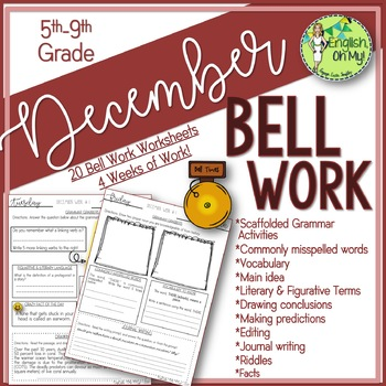 Bell Ringers, Bell Work, Daily Homework {December}