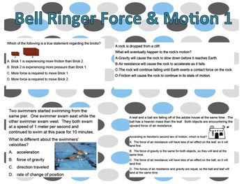 Bell Work Forces & Motion 1