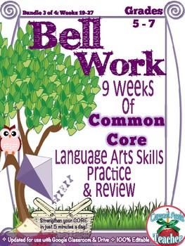 Bell Work Language Arts Bundle 3: Middle Grades {Common Core Skills}