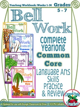 Bell Work Language Arts Yearlong Workbook: Middle Grades {Common Core Skills}