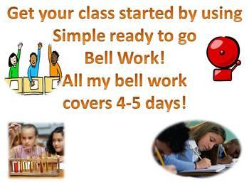 Bell Work More Matter