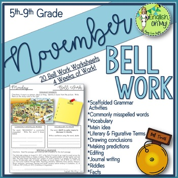 Bell Ringers, Bell Work, Daily Homework {November}