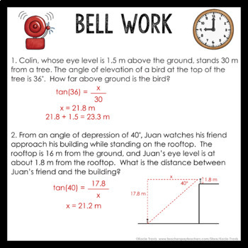 Bell Work Right Triangles & Trig (Geometry Bell Ringers, Warm Ups)