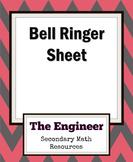 Bell Work Sheet / Bell Ringer Sheet / Do Now Sheet - Assessment Tool