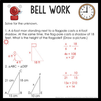 Bell Work Triangles & Similarity (Geometry Bell Ringers, Warm Ups)