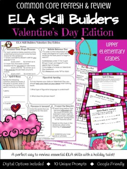 Valentine's Day Bell Work: ELA Skill Building {Common Core Skills}