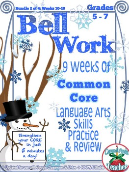 Bell Work Language Arts Bundle 2: Middle Grades {Common Core Skills}