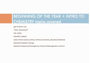 INTRO TO CHEMISTRY Bell Work (15 slides) -editable-