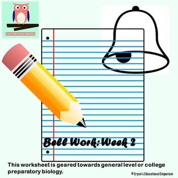 Bell Work Worksheet: Week 2