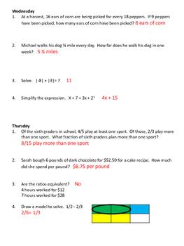 6th Grade Bell Work Weeks 17-20