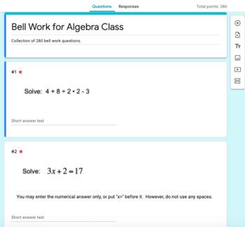 Bell Work for Algebra Class
