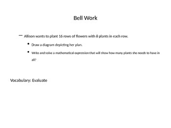 Bell Work for Middle School Math with vocabulary