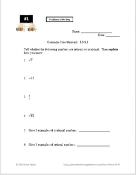 Rational Irrational Numbers Bell Work for a Week 8.NS.1  8.NS.2 Sub Plans