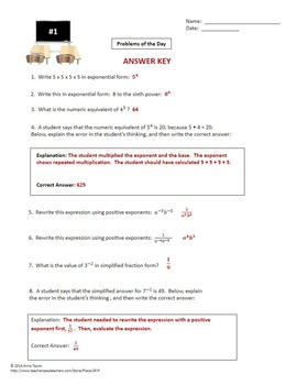 Exponent Rules Practice Pages Bell Work