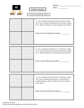 Solve Systems of Equations Graphing Bell Work for Week Quick Checks 8.EE.8